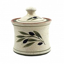 Greek handmade Ceramic coffee container with olive designs 12-14 cm
