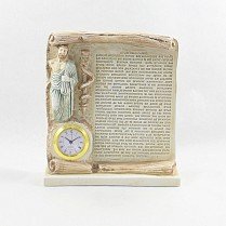 Ceramic table clock with the Hippocratic Oath